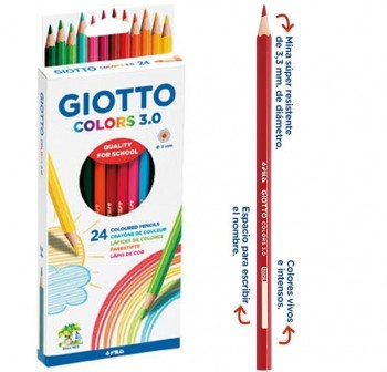 Giotto Estuche 24 lápices de colores Colors 3.0 colores surtidos