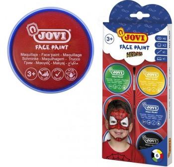 Jovi Set 6 botes maquillaje Face Paint Jovi 8ml + accesorios Heroe