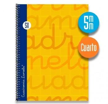 Lamela  Cuaderno tapa forrada 80h 70g cuadrovía 5mm 4º amarillo