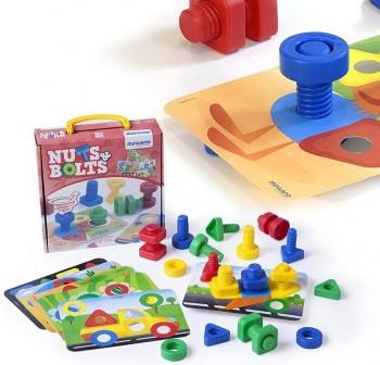 Miniland Pack 12 tornillos, 12 tuercas de formas geométricas y 6 tarjetas de juego Nuts and Bolts