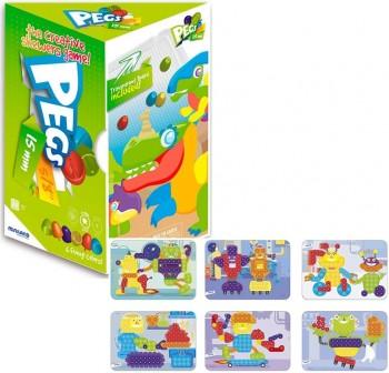 Miniland Pack 1 bandeja, 150 Pegs 15mm y 6 fichas para juego mosaicos