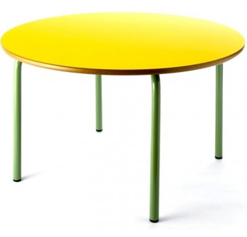 Tagar Mesa infantil redonda estructura verde   120 x 54cm amarillo