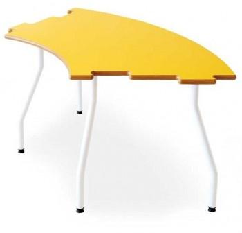 Tagar Mesa infantil semicircular estructura blanca 120x60x46cm amarillo