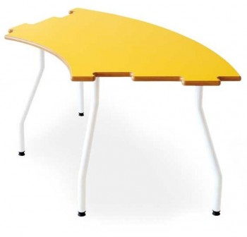 Tagar Mesa infantil semicircular estructura blanca 120x60x60cm amarillo