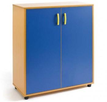 Tagar Armario melamina 2 puertas y 3 huecos 90x113x40cm desmontado haya puertas azules