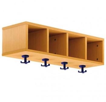 Tagar Mueble casillero perchero melamina 4 huecos y 4 perchas azules 82x42x28cm desmontado haya