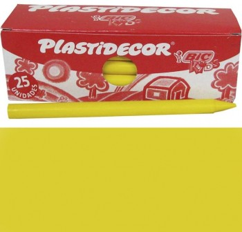 Caja 25 Ceras Plásticas plastidecor amarillo
