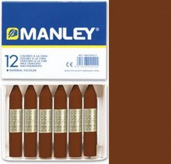 Caja 12 barritas ceras manley marrón