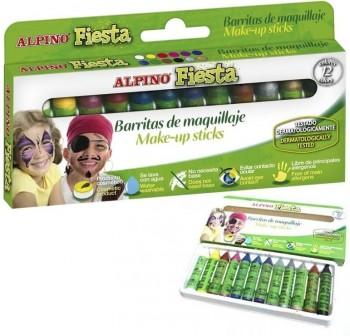 Estuche 12 Barras de maquillaje alpino megafiesta colores surtidos