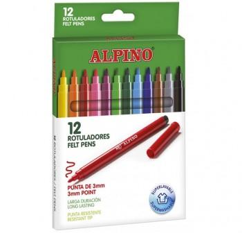 Estuche 12 Rotuladores de colores alpino estandar