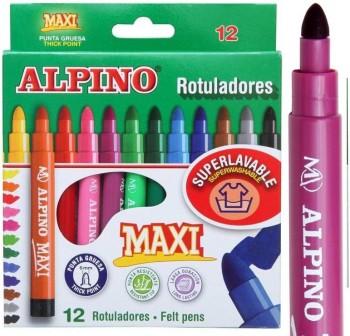 Estuche 12 Rotuladores de colores alpino maxi