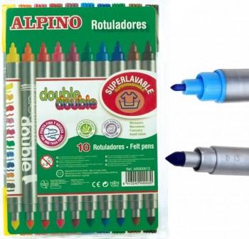 """ALPINO Rotulador \""""double\"""" de 2 puntas 10rotuladores"""