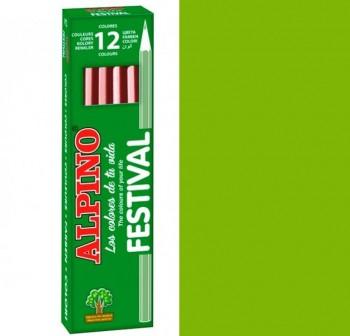 Caja 12 lapices alpino festival verde claro