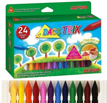 Estuche 24 ceras triangulares dacstrix colores surtidos