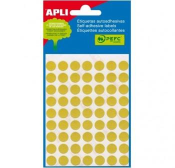 Pack 288 etiquetas escritura manual color redondas 8mm amarillo