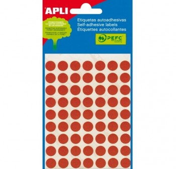 Pack 288 etiquetas escritura manual color redondas 8mm rojo