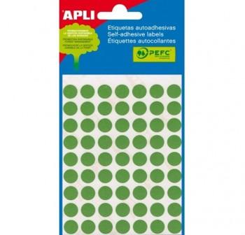 Pack 288 etiquetas escritura manual color redondas 8mm, verde