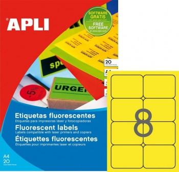 Pack 160 etiquetas color cantos romos 99,1x67,7mm amarillo fluor