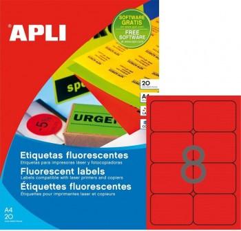 Pack 160 etiquetas color cantos romos 99,1x67,7mm rojo fluor
