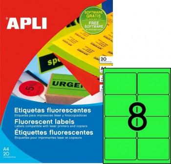 Pack 160 etiquetas color cantos romos 99,1x67,7mm verde fluor