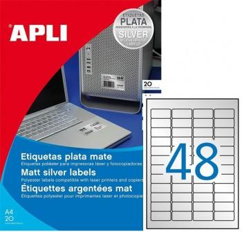 APLI Etiqueta l/c poliester plata 20hoj 45,7x21,2mm