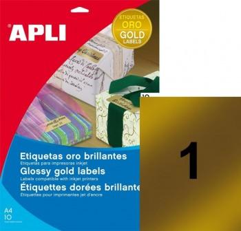 Pack 10 etiquetas color cantos rectos 210X297mm oro brillante