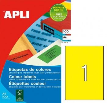 Pack 100 etiquetas color cantos rectos 210X297mm verde