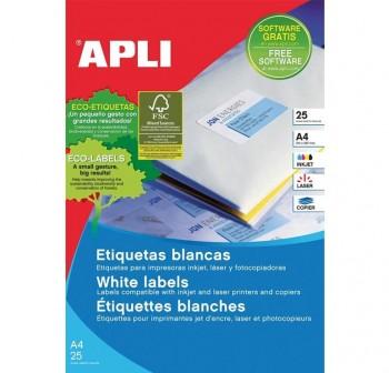 APLI Etiqueta inkjet / laser / copy adhesiva permanente cantos romos en A4 cajas de 100 hojas