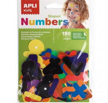 APLI Bolsa gomets adhesivas removible NUMEROS 0-9 150u