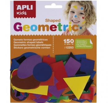 APLI Bolsa gomets adhesivas removible FORMAS GEOMETRICAS 150u