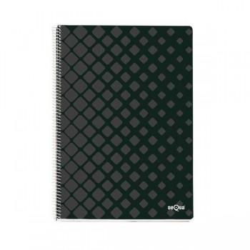 Dequa Cuaderno tapa dura Dequa 80h 90g cuadrícula 4x4 Folio negro