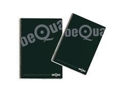 Cuaderno tapa dura DEQUA folio 80h cuadricula 4 negro