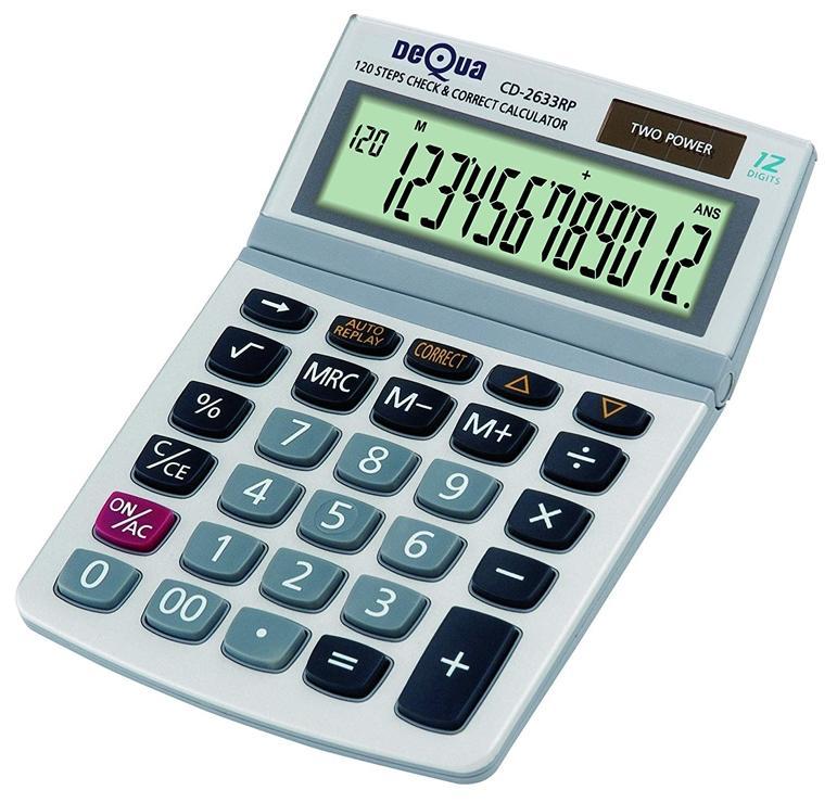 DEQUA Calculadora sobremesa 12 dígito con pantalla grande (solar)
