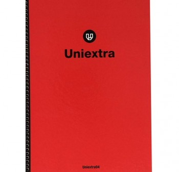 Cuaderno uniextra 04 folio 100h cuadricula 4 rojo negro