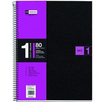 Cuaderno microperforado note book-1 pp A4 cuadricula 5 80h fucsia