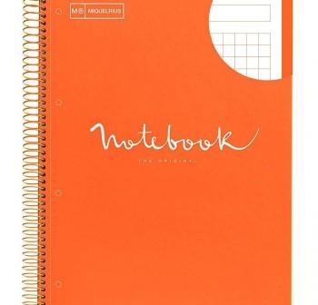 Cuaderno microperforado note book A4 100h cuadricula 5 naranja