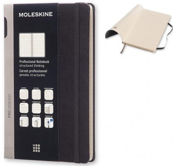 Cuaderno Moleskine Professional tapa blanda 13x21cm 192 páginas. Negro