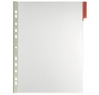 Caja 5 fundas clasificadores a4 transparente marco rojo