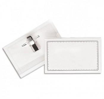 Caja 50 portanombres congreso rígido imperdible + pinza 5,5x9cm