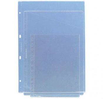 Caja 100 fundas planos corte diagonal pvc 4 taladros A4 transparente