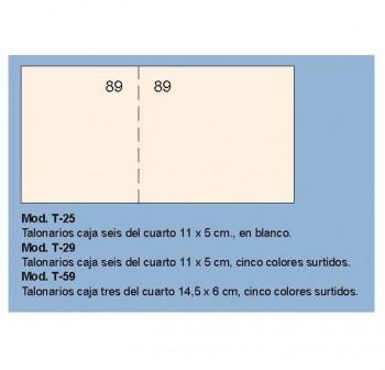 Talonario de caja seis del 4º 11x5 cm blanco