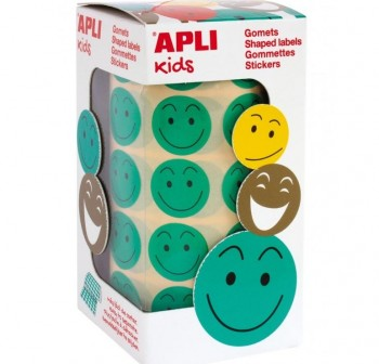 APLI Bolsa gomets adhesivas redondo removibles smile 20mm VERDE