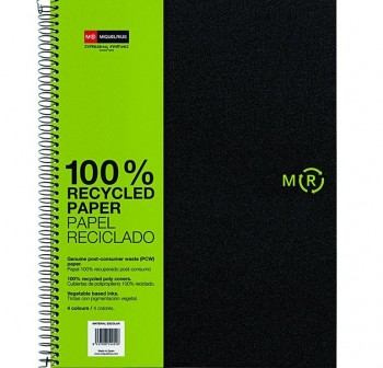 Cuaderno microperforado note book pp opaco reciclado A4 cuadrícula 5x5 120h