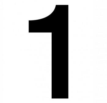Bolsa numero del nº 1 autoAdhesivo individuales helvetica mayúscula 75mm negro