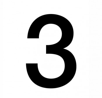 Bolsa 3 numeros del nº 3 autoAdhesivos individuales helvetica mayúscula 75 mm negros