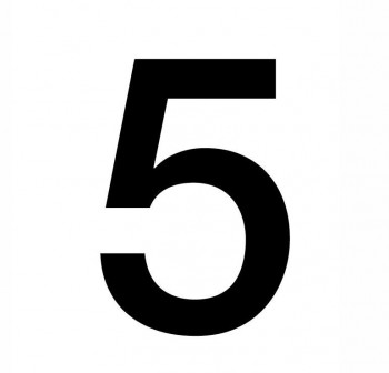 Bolsa 5 numeros del nº 5 autoAdhesivos individuales helvetica mayúscula 75 mm negros