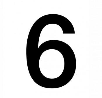 Bolsa 5 numeros del nº 6 autoAdhesivos individuales helvetica mayúscula 75 mm negros