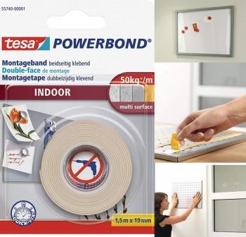 Rollo cinta montaje doble cara de espuma Tesa para interiores 1,5m x 19mm blanco