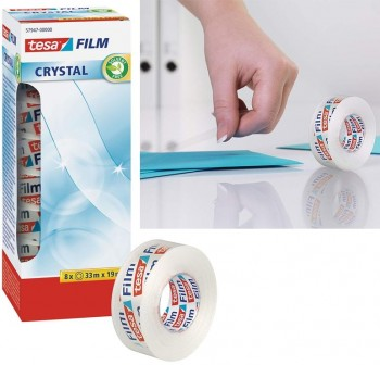 Pack 8 rollos cinta adhesiva tesafilm Crystal Officebox 33mx19mm