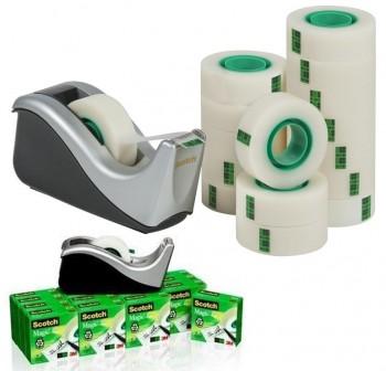 Scotch Pack 16 rollos cinta adhesiva Scotch Magic 19mm x 33m + Dispensador C60 negro plata